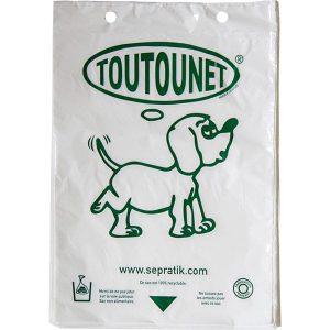 Liasse de 100 sac à déjections canines TOUTOUNET authentiques. Fabriqués en France. Texture soyeuse