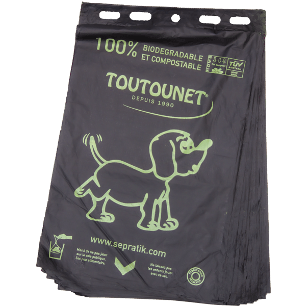 Sac à déjections canines en liasses de 100, biodégradables, compostables et fabriqués en France