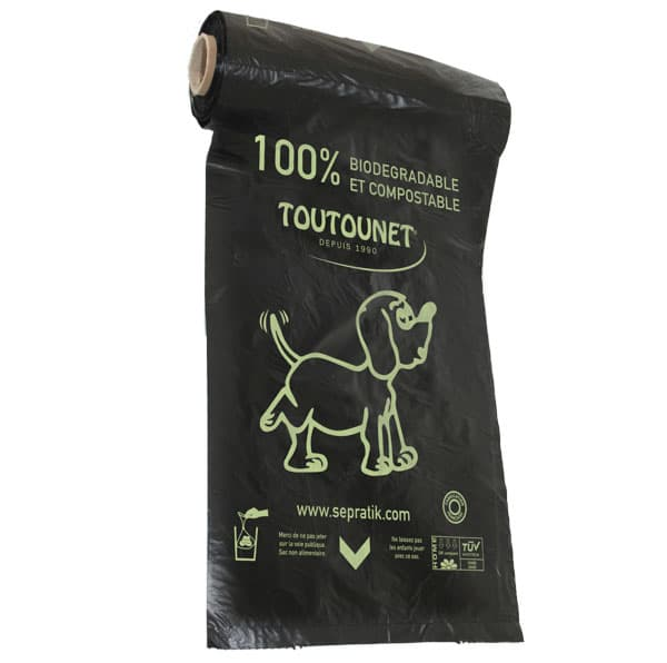 BOBINE de 200 SACS CANINS NOIRs BIO-COMPOST TOUTOUNET