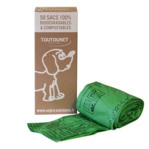 BOITE DE TOUTOUNET 2 mini bobines de sacs à crottes BIO-compost