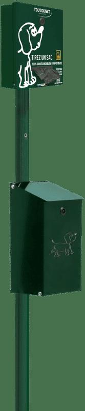 TOUTOUNET SPART pour sacs en rouleaux sur poteau et poubelle : borne de propreté canine